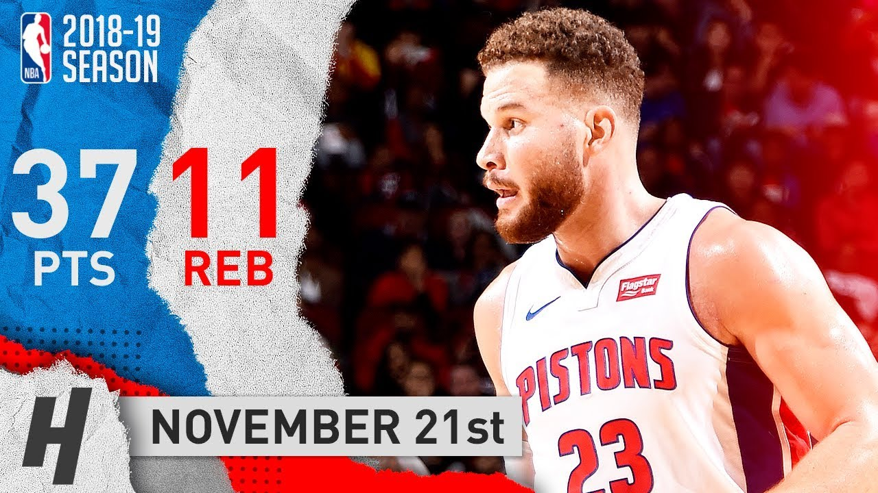on sale 295d7 01d54 Blake Griffin Full Highlights Pistons vs Rockets 2018.11.21 - 37 Points, 11  Reb