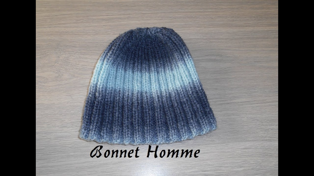 tricoter un bonnet simple homme