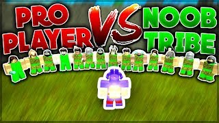PRO PLAYER vs NOOB TRIBE (1vs19) Who would win? | Roblox: Booga Booga
