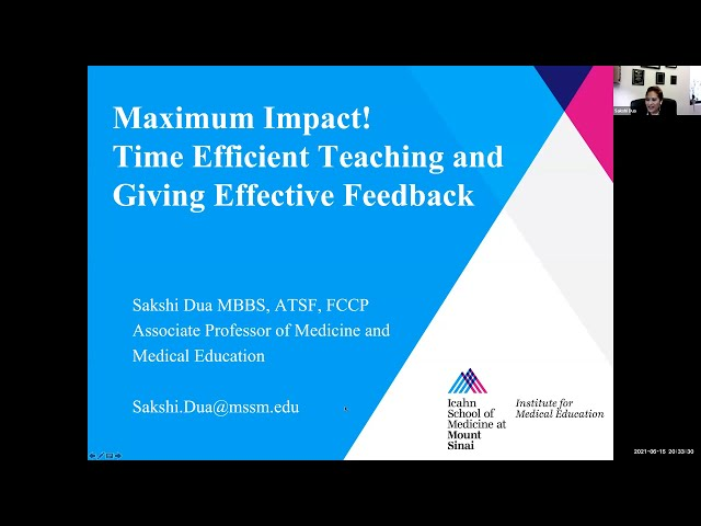Maximum Impact! Time Efficient Teaching and Giving Effective Feedback