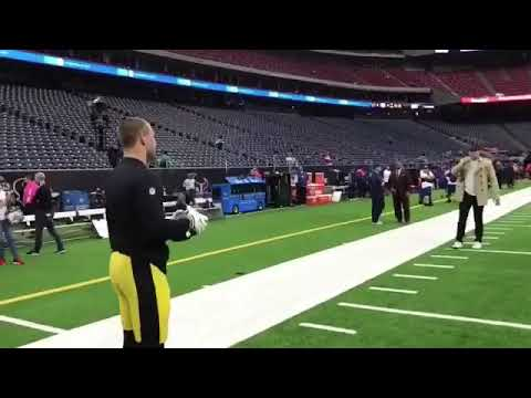 JJ Watt And Brother TJ Watt Playing Catch Before Texans Vs Steelers Game