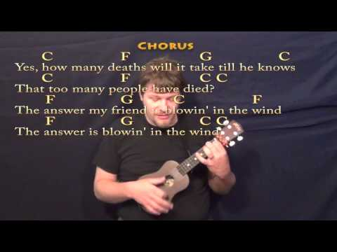 Blowin In The Wind Ukulele Cover Lesson in C with Chords Lyrics Mp3 ...