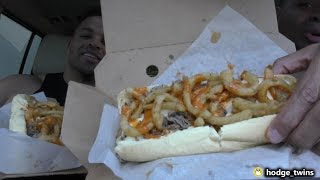 Eating The Wall Cheesesteak @hodgetwins