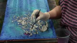 Silk Painting Gabogrecan at Work Cooktown Orchid
