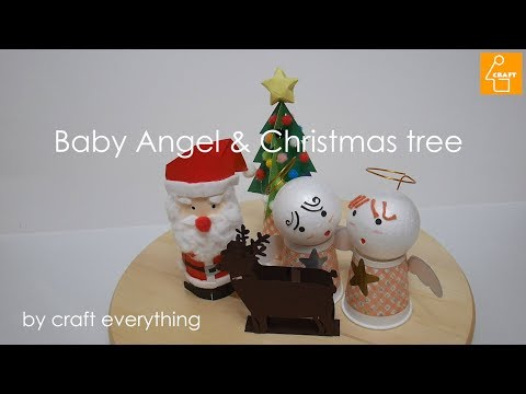 how to make DIY lovely baby angle & christmas tree paper craft/kids craft