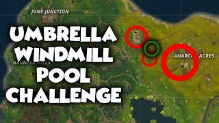 Fortnite Week 2 Challenge - search between a Pool, Windmill and an Umbrella