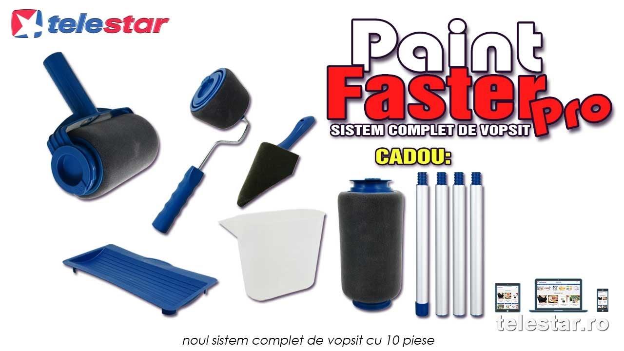 Paint Faster Pro Sistem Complet Cu Trafalet 4 Accesorii Maner Extensibil Si Rola De Rezerva