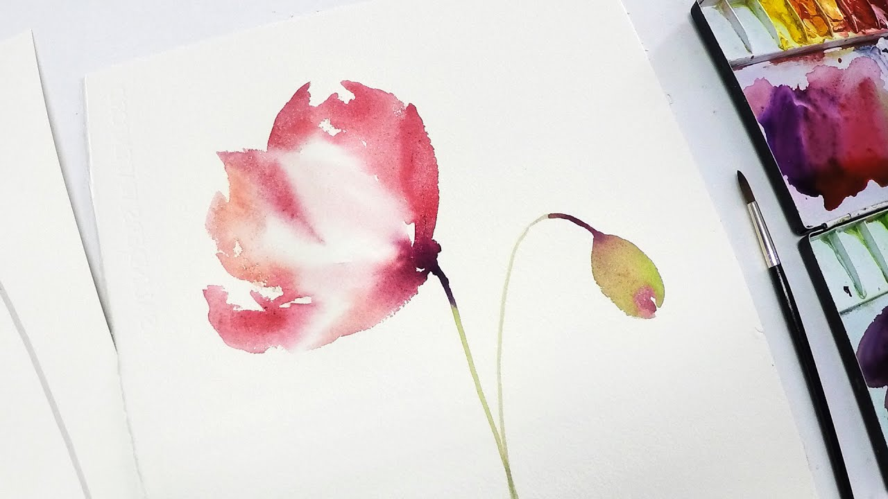 lvl2 poppy watercolor painting for beginners 2 youtube
