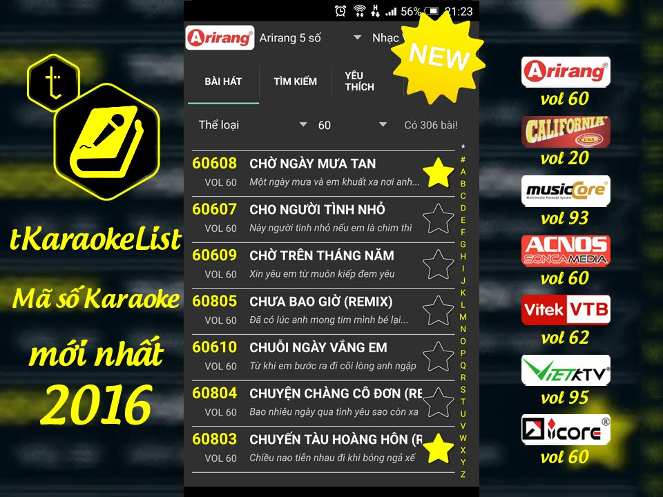 Mã số Karaoke Arirang vol 60 🎤 tKaraokeList