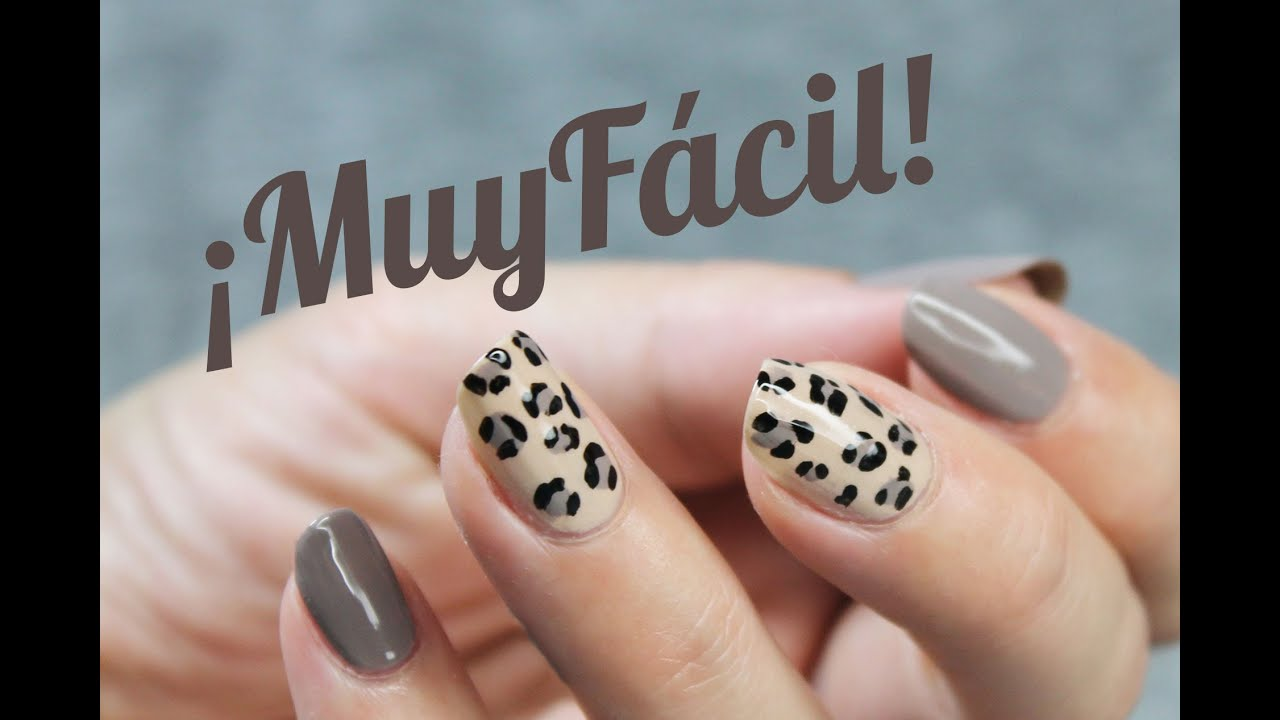 Uñas animal print leopardo FÁCIL y elegante - YouTube