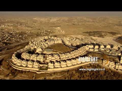 AJ035n - Israel Stock Footage: Aerial footage of Jerusalem Har Homa & Judean hills