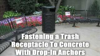 Hilti HDI Drop-In Anchors for Fastening a Trash Receptacle to Concrete