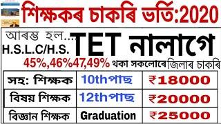 Teaching job in Assam online Apply আৰম্ভ Tet, Ctet পাছ নকৰা সকলৰ বাবে