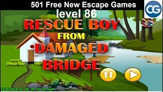 [Walkthrough] 501 Free New Escape Games level 86 - Rescue boy from damaged bridge - Complete Game