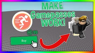 How to make a Gamepass WORK in ROBLOX Studio! (Add gamepasses to your game!)