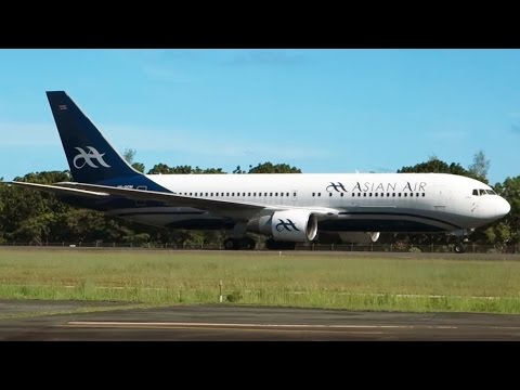 AsianAir Boeing 767-200 Landing in tropical Koror, Palau, on a flight from Macau  [AirClips]