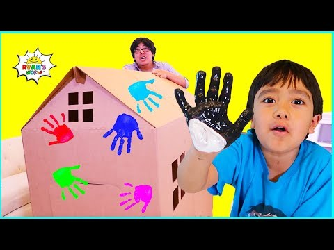 Ryan DIY Box Fort House Painting And Building With Daddy!!!
