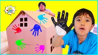 Download Ryan DIY Box Fort House Painting and Building with Daddy!!! Mp3 and Videos