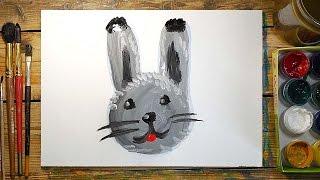 Как нарисовать Зайчика | Простые рисунки красками | Урок рисования для детей