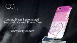 DSstyles Loving Heart Personalized Swarovski Crystal iPhone 4 4S Case - Pink Thumbnail