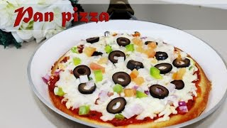 Pan pizza - No yeast, No resting hours, Vegetarian instant pizza recipe by crazy4veggie.com
