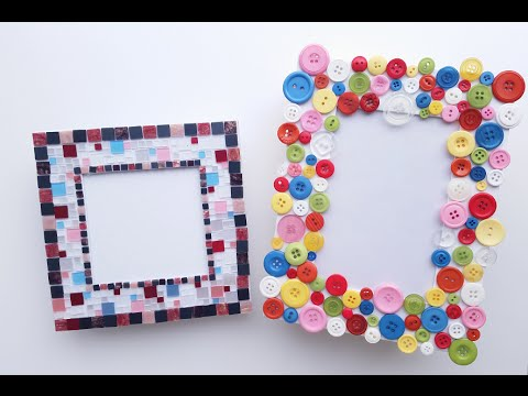 how to make a picture frame diy mosaic tiles and coloured buttons youtube - Mosaic Picture Frames