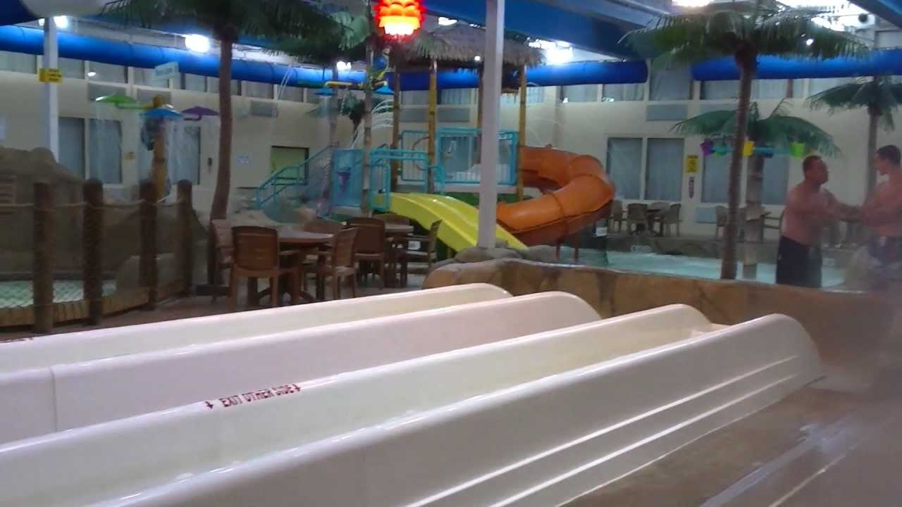 Palm Island Indoor Waterpark In The Clarion Hotel Batavia Ny Going Down Water Slides You
