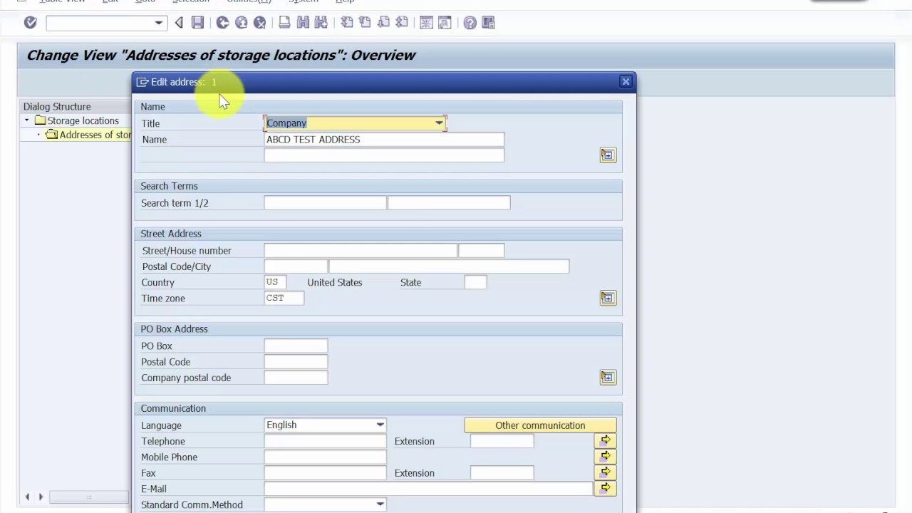 How to Edit the address of a Storage Location- SAP MM