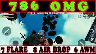 786 OMG    7 FLARE GUNS, 8 AIR DROP, 6 AWM    IN A SINGLE MATCH PUBG MOBILE