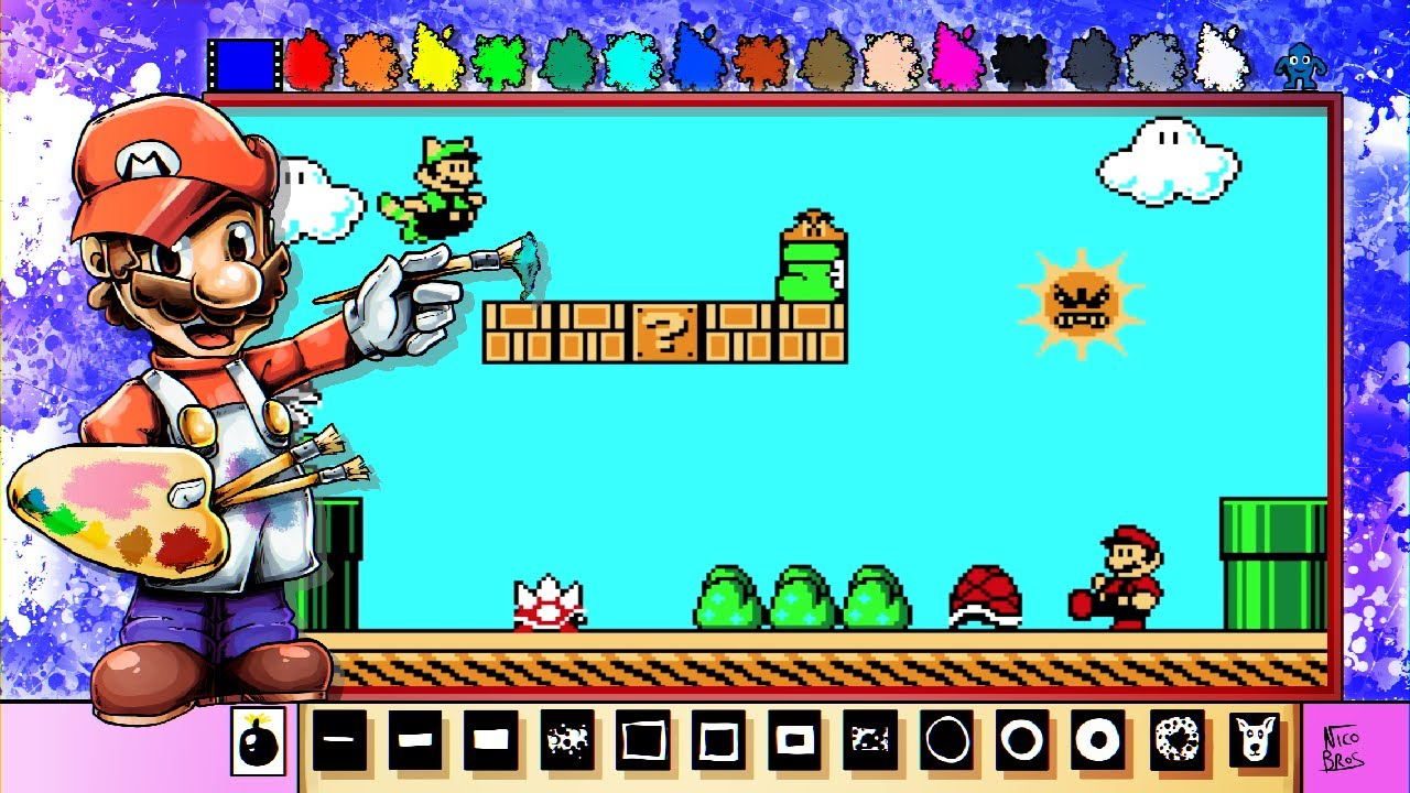 Mario Paint Creations Super Mario Bros 3 Pixel Art Scene Youtube