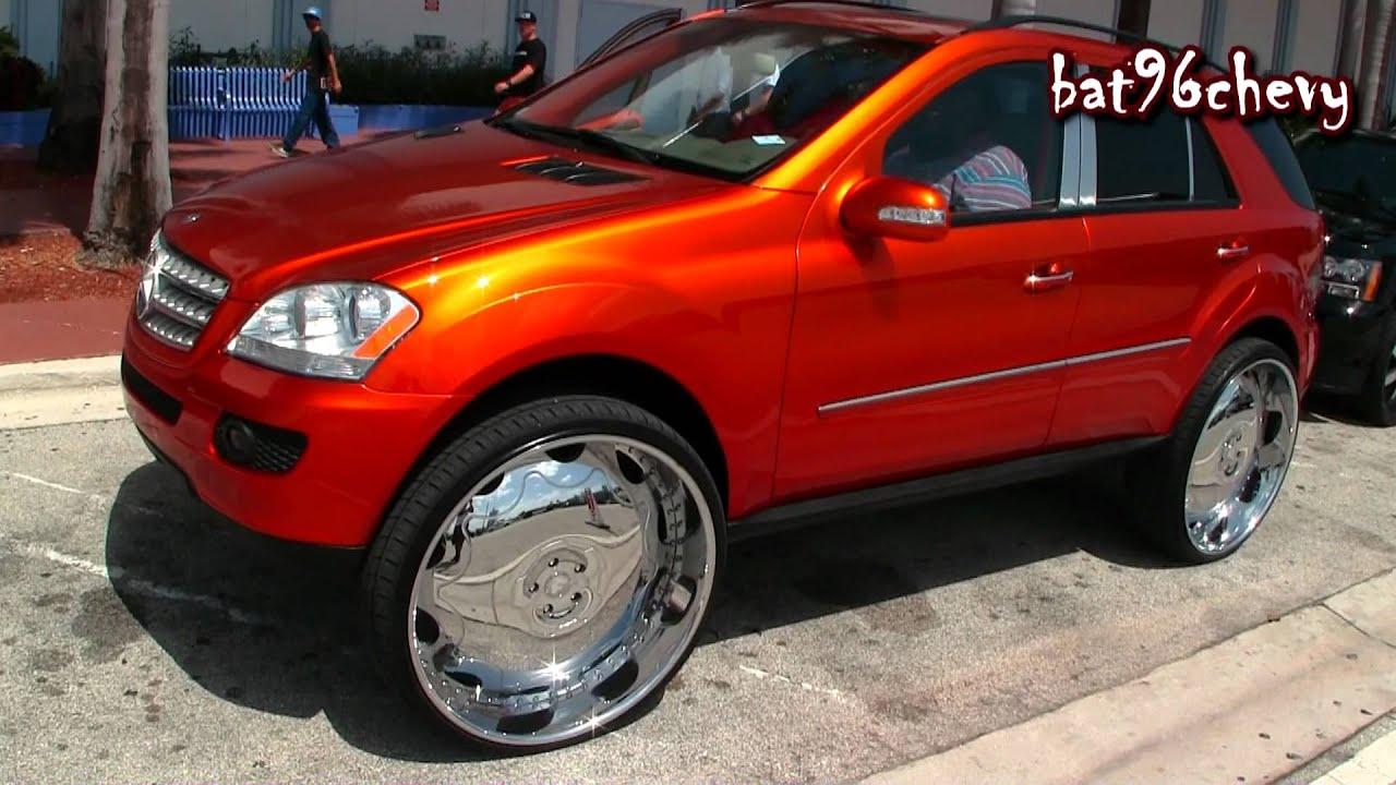 Candy Orange Mercedes Benz Ml 350 On 30 Forgiatos Chrome Wheels 1080p Hd