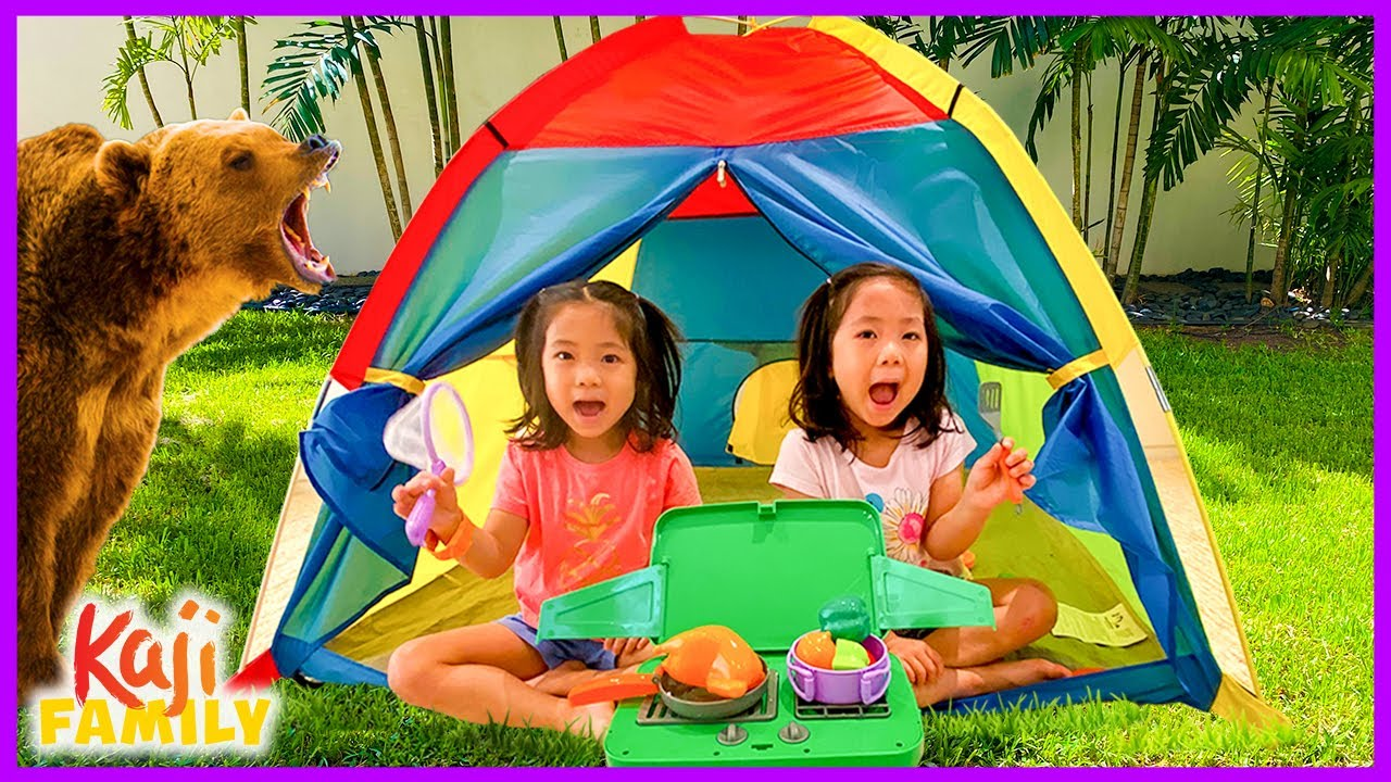 Emma and Kate Pretend Play Camping Family Fun Activities!
