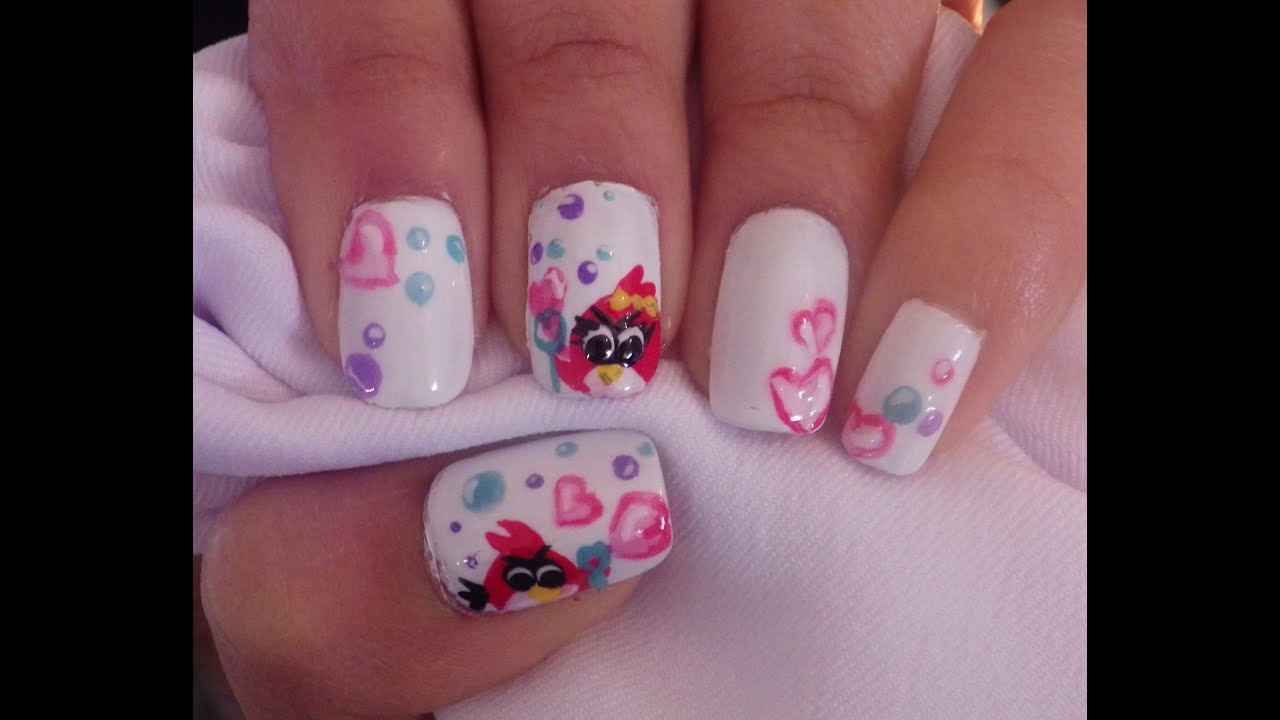 Nail art angry birds and bubbles for valentine\'s day// Diseño de ...