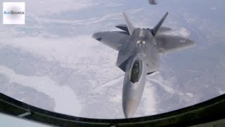 168th Air Refueling Wing Performing Air Refueling with F-22 Raptors