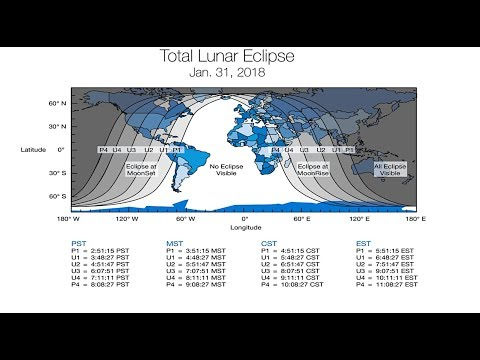 January 31 Lunar Eclipse Map.Rare Blue Moon Total Eclipse Visibility On January 31 2018 Where