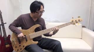 香港大師貝斯手展示melancon burl maple top bass