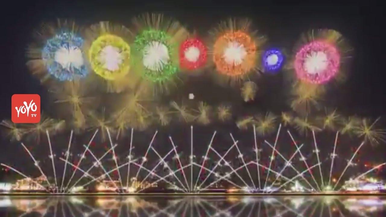 World's First Patented Fireworks at Japan (Mount Fuji)   Japan New Year fireworks   YOYO TV Kan