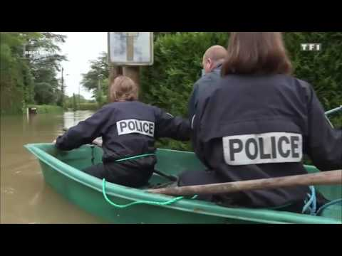 Rescue Team from the French Police during floods
