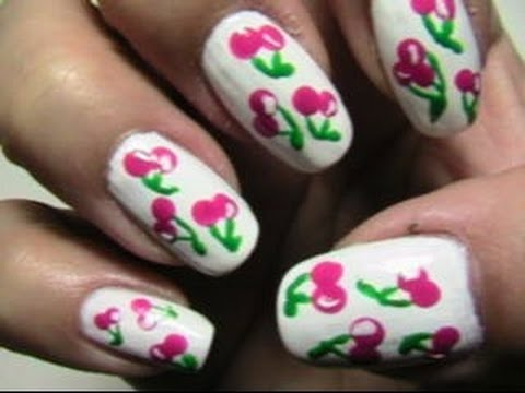 easy cherry nail art  youtube