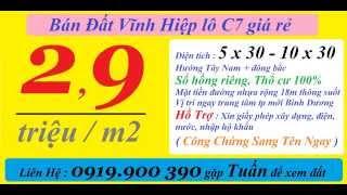 Cần Tiền Bán Đất Vĩnh Hiệp (đô thị mới) lô VH-C7 giá chỉ 2,9tr/m2