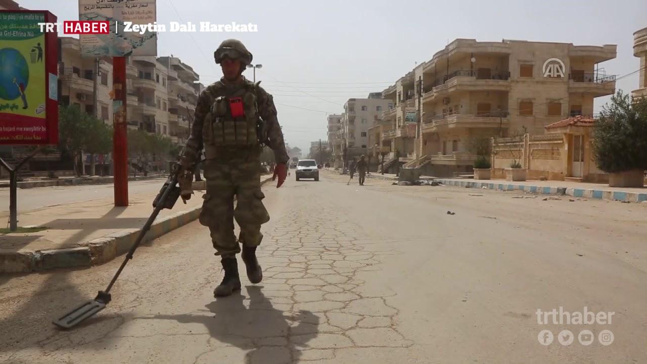Afrin şehir merkezinde mayın arama-tarama faaliyeti yürütülüyor.