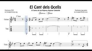 El Cant dels Ocells Video Tablatura y Partitura de Guitarra Tabs Sheet Music for Guitar Beginners