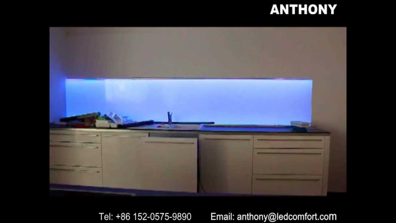 Backsplash Panels For Kitchen New Faucet Led Splashbacks Illuminated - Youtube