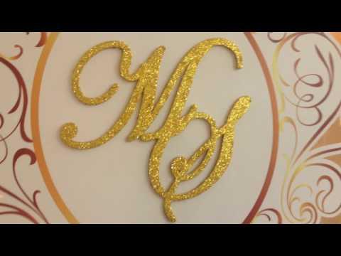 www.thelovemode.com  / ป้ายชื่อแต่งงาน ตัวอักษรเป็นกิลเตอร์ (Glitter) กากเพชร