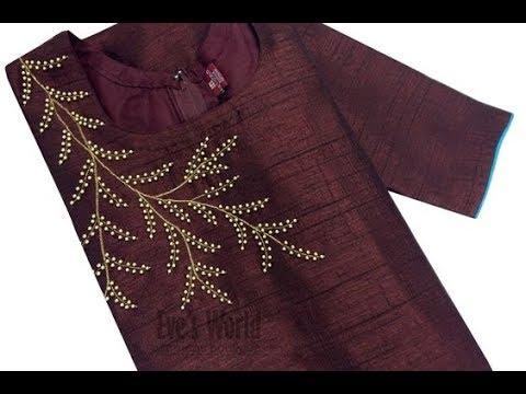 Aari Hand Embroidery Pearl work design Churidar / Kurti easy making/ Maggam work