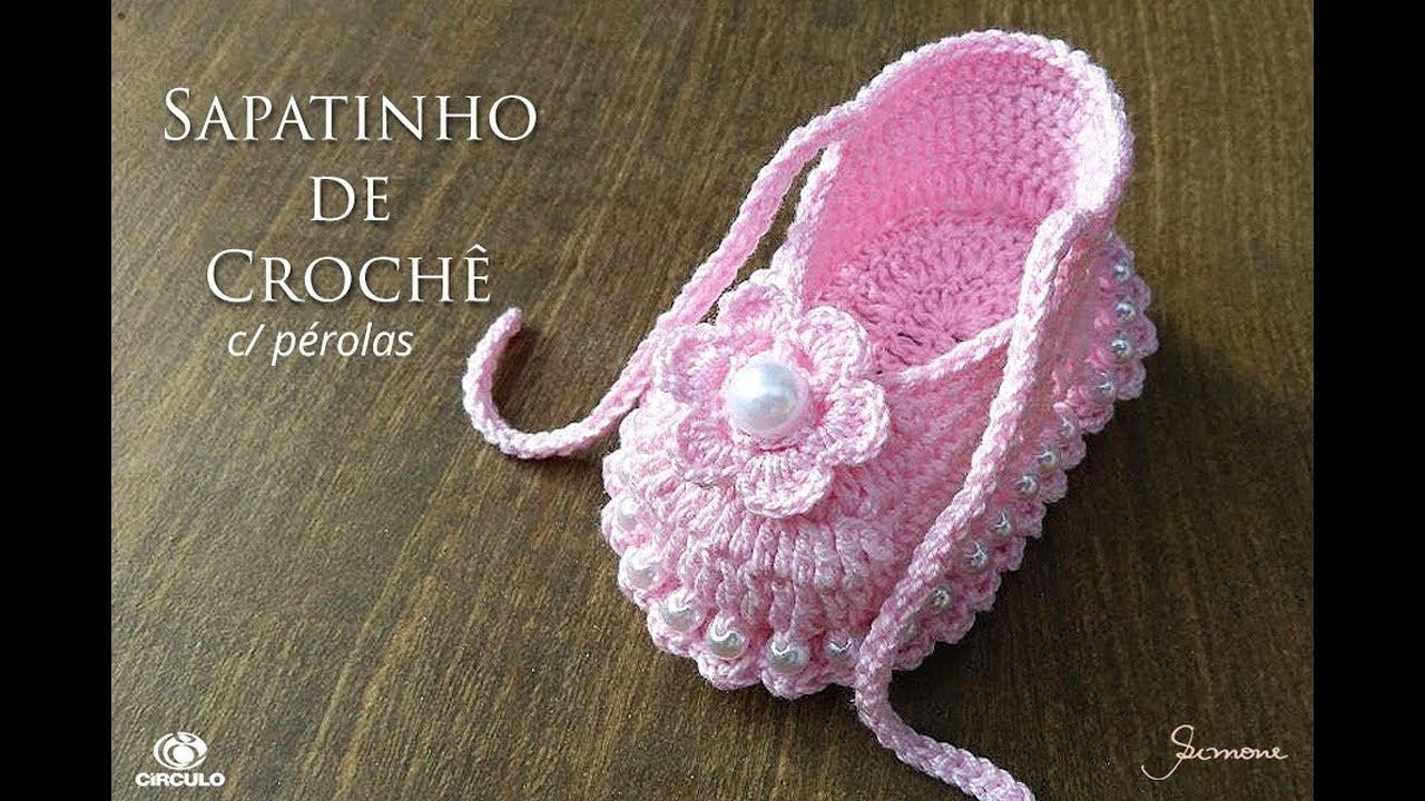 6f4d2670a Sapatinho em Crochê com pérolas passo a passo Professora Simone Eleotério