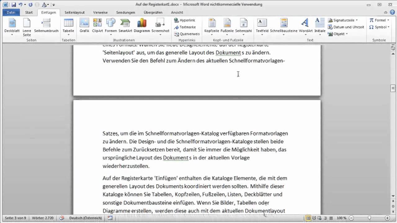 Word 2010: Mithilfe von Lesezeichen die letzte Stelle im Dokument ...