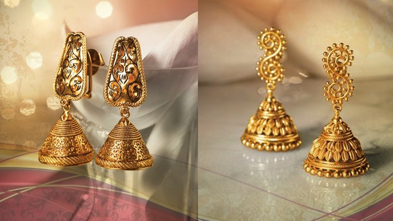 Traditional Light Weight Gold Jhumka Designs - YouTube