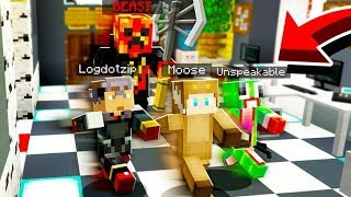 ESCAPE THE BEAST IN MINECRAFT! (With UNSPEAKABLEGAMING, PRESTONPLAYZ, LOGDOTZIP)