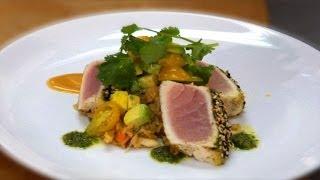 Chef Beau MacMillan's Pan Seared Sesame Encrusted Albacore Tuna Pt.1